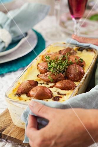 Potato bake with roasted shallots