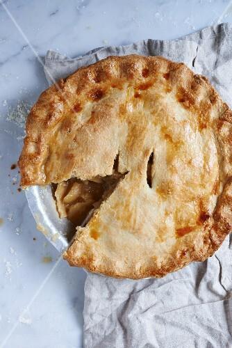 Homemade apple pie, sliced
