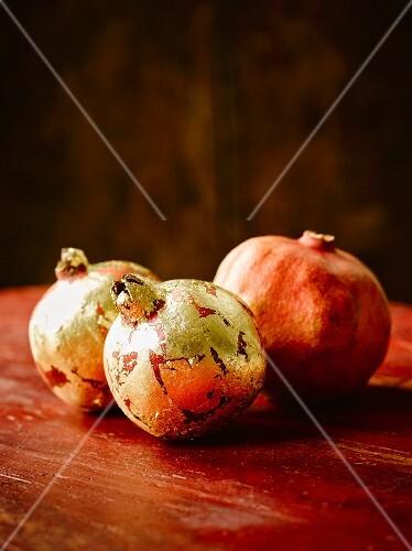Pomegranates, partially with gold glaze