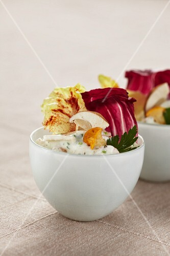Cold mushrooms salad with radicchio