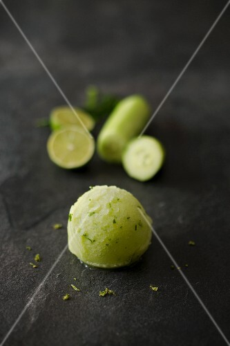 A scoop of cucumber and lime sorbet