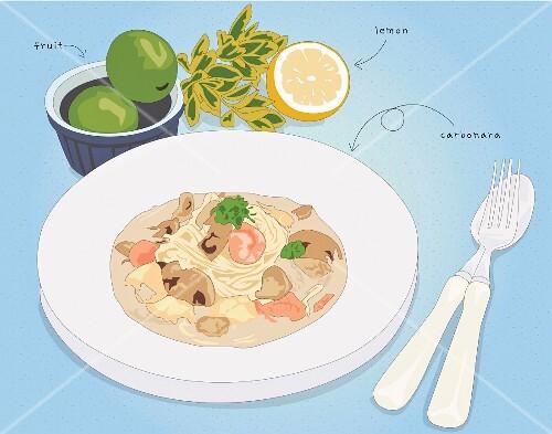 Spaghetti carbonara (illustration)