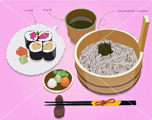 Sushi, stock and buckwheat noodles (illustration)