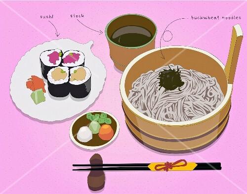 Sushi, stock and buckwheat noodles (illustration)