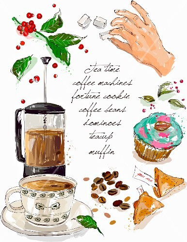 An arrangement featuring a coffee maker, a cup of coffee and pastries (illustration)