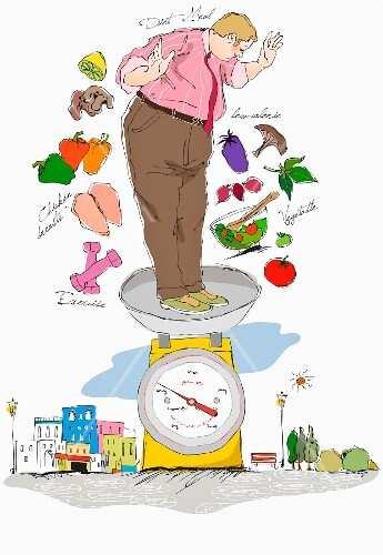 A fat man standing on a kitchen scales (illustration)