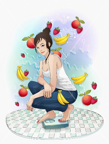 A young woman on a pair of scales surrounded by fruit (illustration)