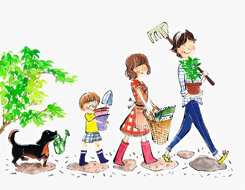 A family with a dog carrying plants and garden utensils (illustrations)