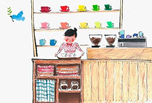 A barista in a coffee shop (illustration)