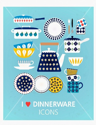 Various illustrations of kitchen utensils on a blue background (illustration)