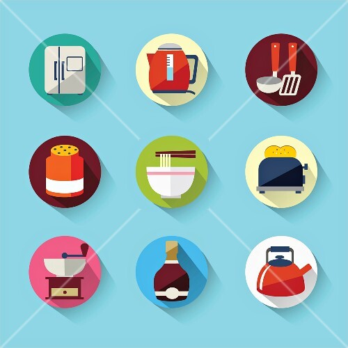 A collection of kitchen icons (illustrations)