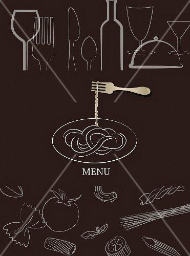 A menu illustrated with different types of pasta (illustration)
