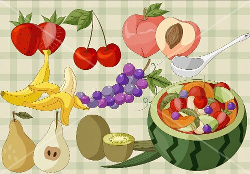 Various fruit and a melon filled with fruit salad (illustration)
