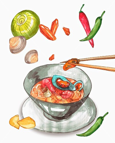 Pasta with seafood surrounded by ingredients (illustration)