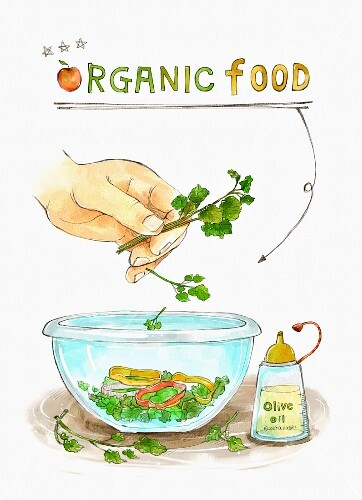 A bowl of salad with ingredients and the words 'Organic Food' (illustration)