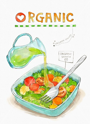 An illustration of organic food: dressing being poured over salad