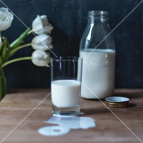 Milk in a glass and in a bottle