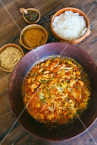 Seafood moqueca (traditional Bahian dish with vatapà, rice and manioc farofa, Brazil)
