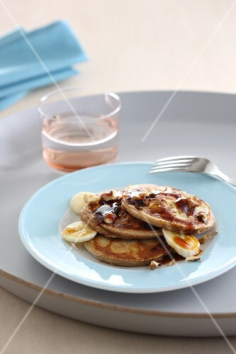 Pancakes with banana and caramel sauce