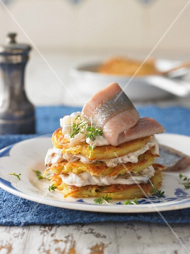 Soused herring fillets with potato cakes, Germany