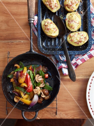 Steak sides: fried vegetables and baked potatoes