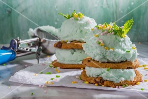 Mint ice cream cakes