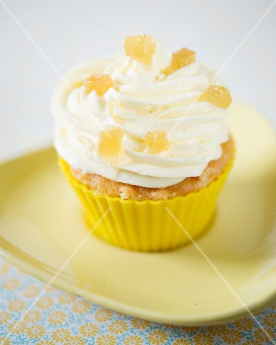 A cupcake with candied ginger
