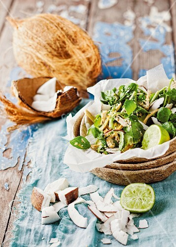 Watercress salad with roasted chicken breast and coconut