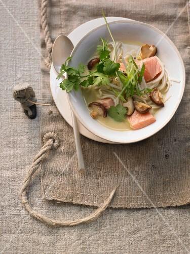 Salmon laksa with udon noodles and shiitake mushrooms