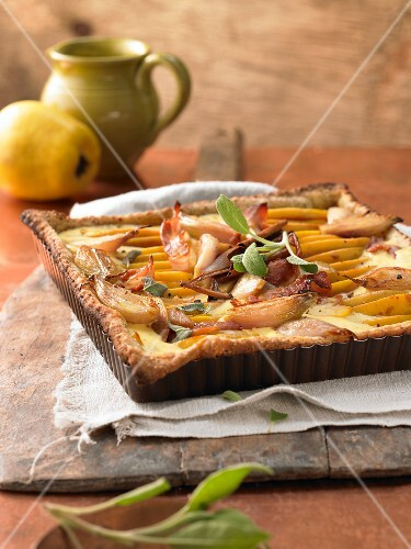 Quince and bacon tart