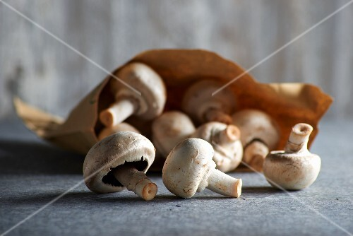 Fresh mushrooms with a paper bag