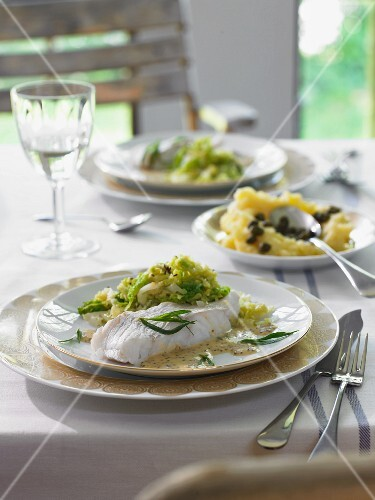 Cod with a tarragon and mustard sauce