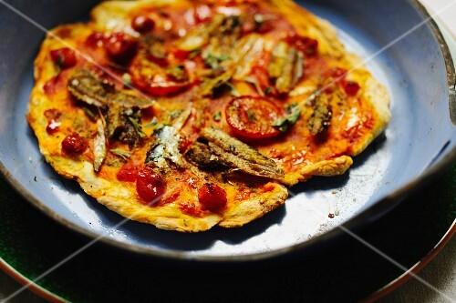 Pizza con le sarde (sardine pizza, Italy)