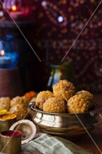 Boondi ladoo (sweet fried dumplings, India)