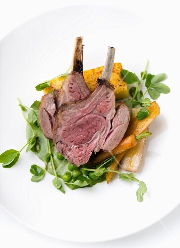 Lamb chops with vegetables and polenta