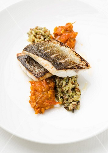 Seabass on rice and a pepper relish