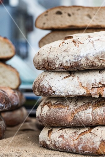 Stacks of bread in a bakery