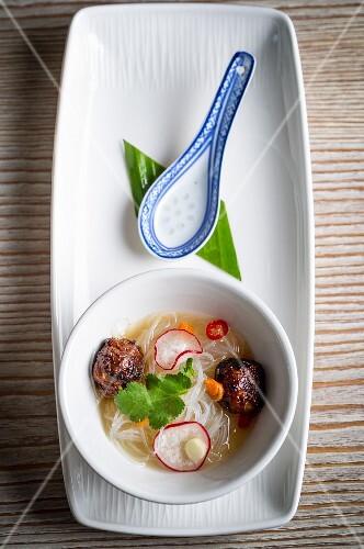 Noodle soup with lamb dumplings (Asia)
