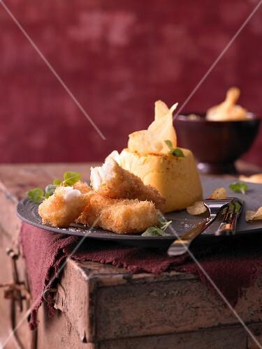 Turnip flan with crispy cod and potato crisps