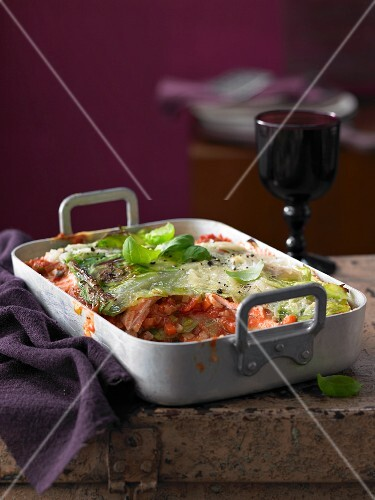Pointed cabbage lasagne with salmon and bacon
