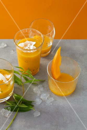 Caribbean cocktails with mango, lines and pineapple