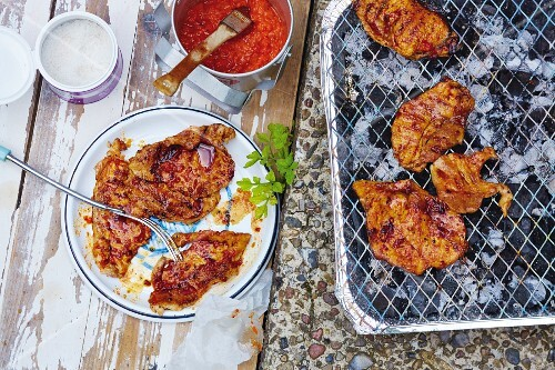 Grilled minute escalopes with a pepper marinade