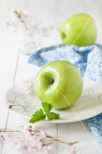 Green apples and parsley leaves