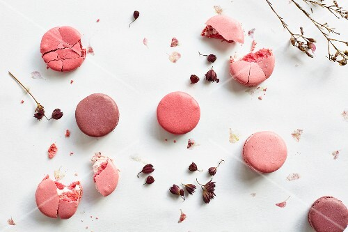 Pink and purple macaroons (seen from above)