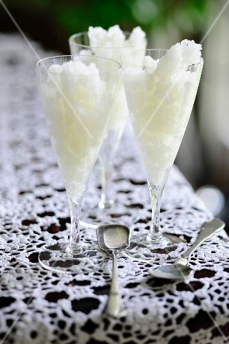 Lemon granita in champagne glasses