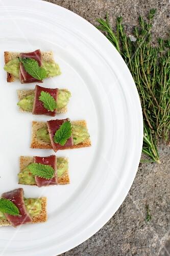 Canapés with guacamole and tuna fish