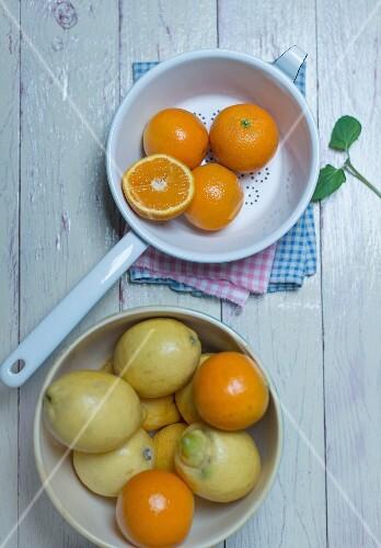 Oranges in an enamel colander, oranges and lemons in a porcelain bowl and fresh mint