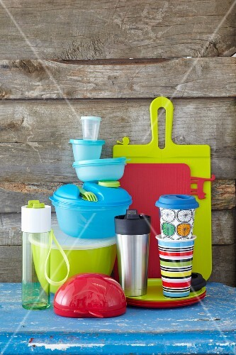 Colourful boxes and cups for transporting food