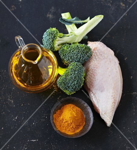 Ingredients for turmeric chicken
