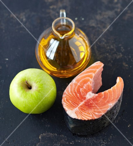 Ingredients for potato and apple soup with salmon